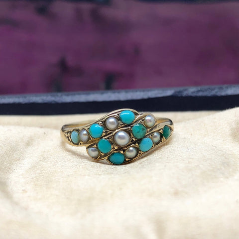 Victorian Turquoise And Pearl Ring 15ct Gold