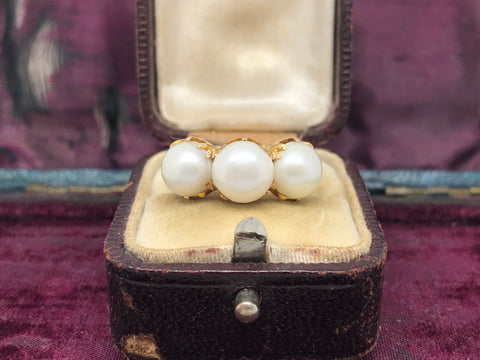 Large Pearl Gold Ring