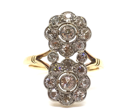 Early 20th Century Double Cluster Diamond Ring