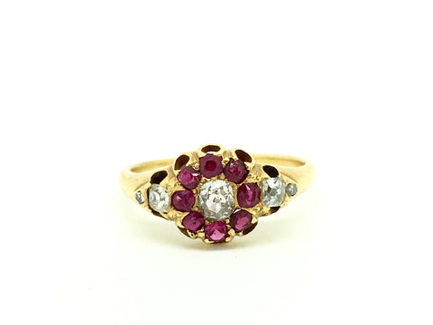 18ct Gold Ruby and Diamond Cushion Cut Ring