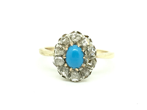 Rose Cut Diamond and Turquoise Ring
