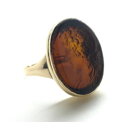 reserved Antique Amber Glass Intaglio Ring