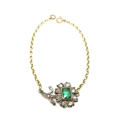 IxH Collab Early Emerald and Diamond Flower Bracelet