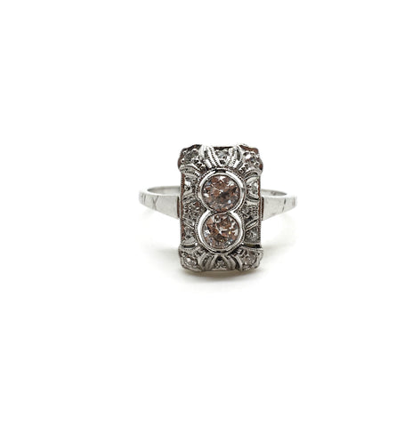 Reserved Art Deco Two Stone Panel Ring