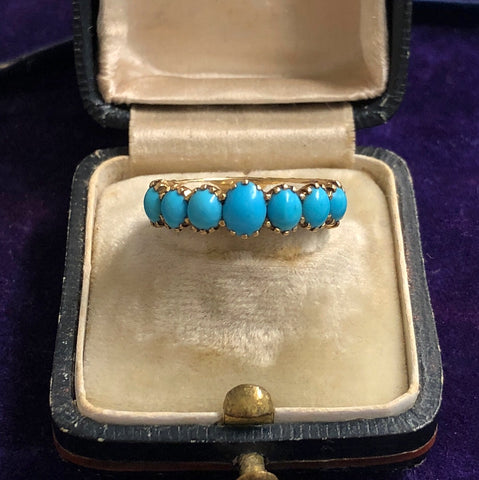 18ct Gold Georgian Turquoise Half Hoop
