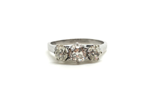 1.70ct Three Stone Old Cut Diamond Ring