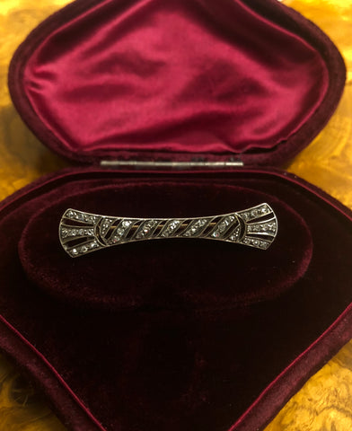 Victorian Rose Cut Diamond Bow Brooch
