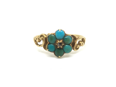 18ct gold Victorian Gold Turquoise and Diamond Ring