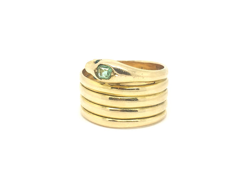 Reserved Victorian 18ct Gold Emerald Set Snake Ring