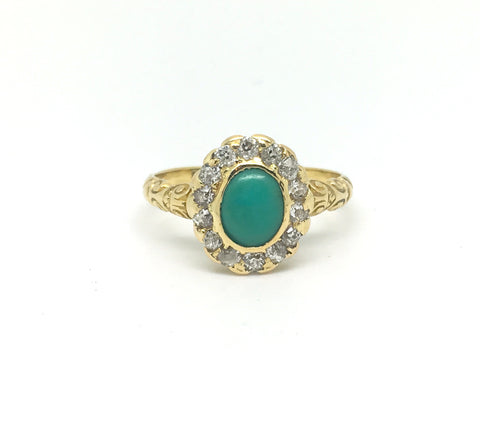 Victorian Turquoise and Diamond Halo Ring