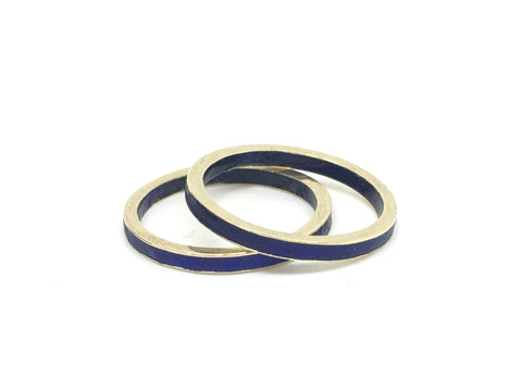 Matching Art Deco Gold Enamel Eternity Rings