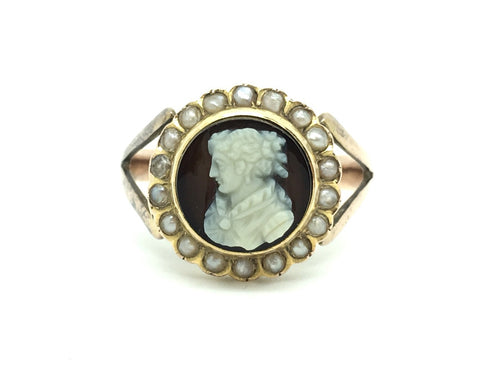 Victorian Agate Cameo Ring with Seed Pearl border