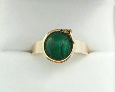 Malachite and Snake Gold Ring