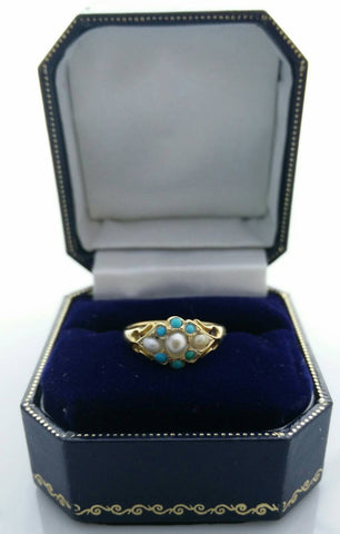 Antique 18ct Gold Turquoise and Pearl Ring
