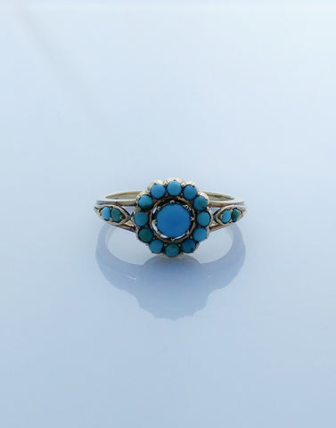 Stunning Victorian Gold Turquoise Cluster Ring
