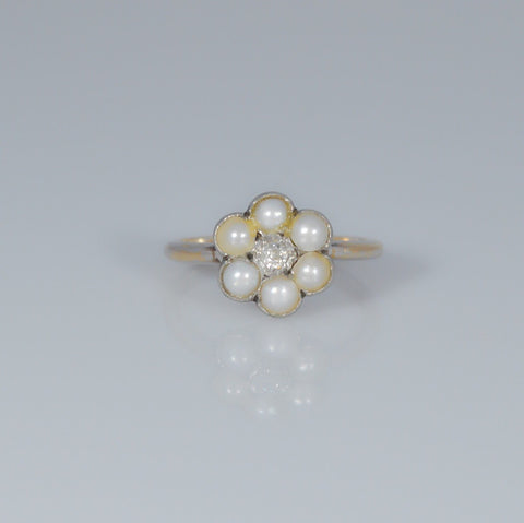 IxHcollab 18ct gold Diamond and Pearl Ring