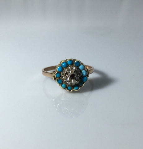 Victorian Turquoise, Pearl and Garnet Cluster Ring