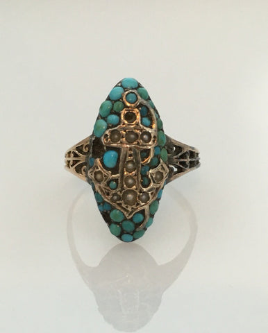 Victorian Anchor Turquoise Ring