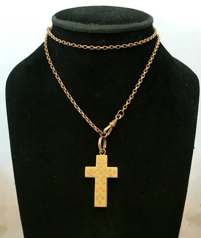 Antique Inlaid Bone Cross with Gold Stars