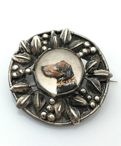 Antique Silver Brooch set with Terrier Intaglio