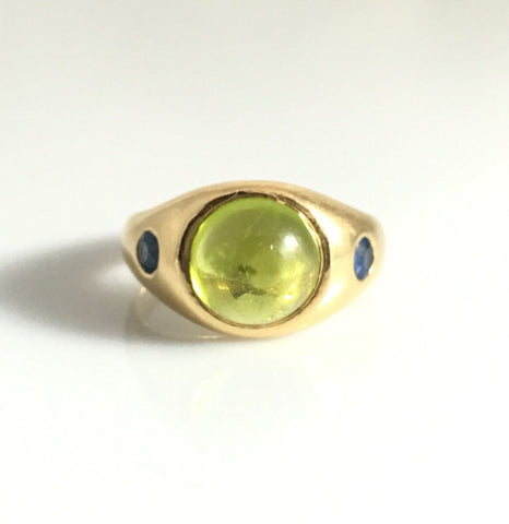 18ct Gold Peridot and Sapphire Ring