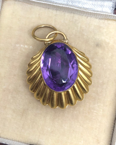 Victorian Scalloped Shell Amethyst Locket