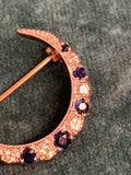 Vintage 9ct Gold Sapphire and Diamond Crescent brooch