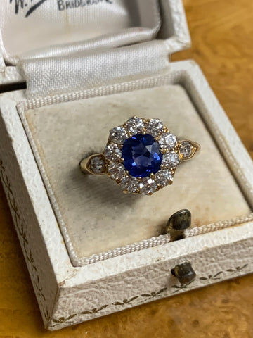 Burmese no heat sapphire and diamond old cut cluster ring