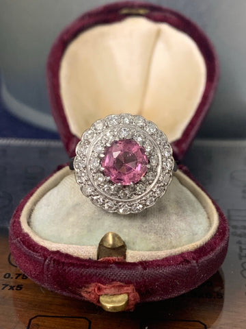 Reserved! 18ct and Platinum Pink Spinel and Diamond Ring