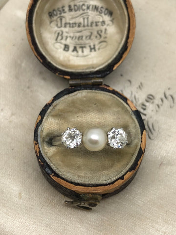 Platinum Edwardian Diamond and Pearl Ring