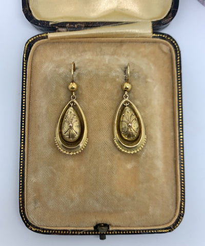 Victorian Etruscan Revival 15ct Gold Earrings