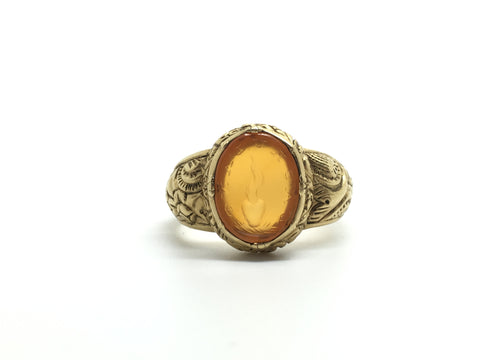 Reserved. Antique French 'La Brulant' Flaming Heart Ring