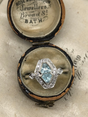 Aquamarine and Dimond Ring