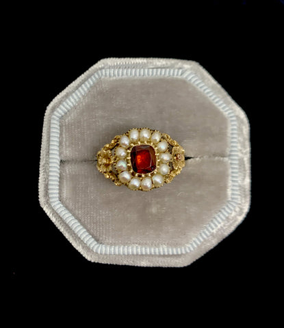15ct Gold Georgian Garnet and Pearl Ring