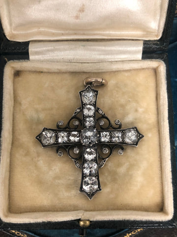 Early Victorian Rock Crystal and Diamond Cross Pendant