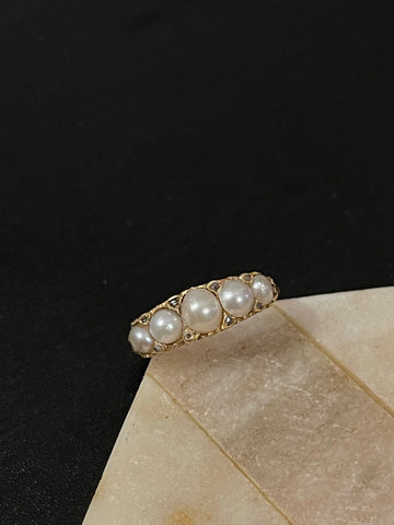Reserved Victorian Pearl and Diamond Half Hoop