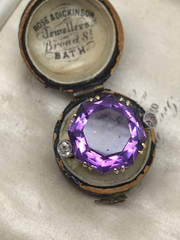 Platinum and 18ct Gold Amethyst & Diamond cocktail Ring