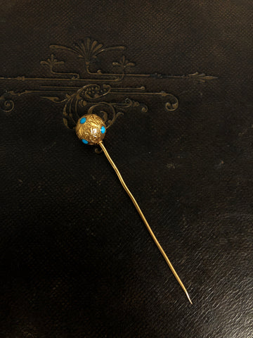 French Victorian 18ct Turquoise Ball Stick Pin