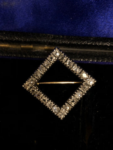 Antique Victorian Old Cut Diamond Set Square Brooch