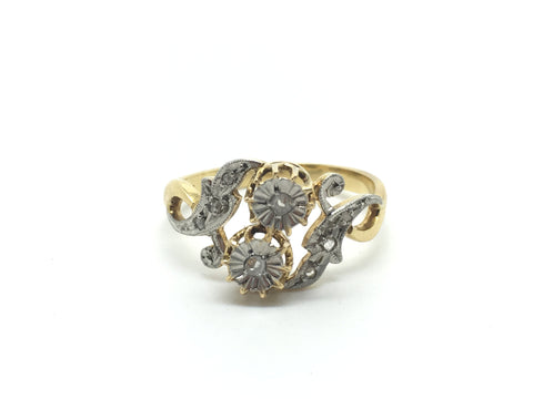 Reserved for L. 18ct Gold and Platinum French Diamond Ring circa 1900
