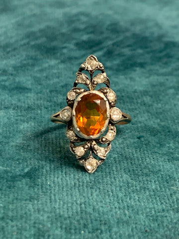 Late Victorian Citrine and Diamond Panel Ring