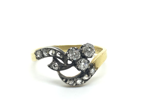 Old Cut Diamond Flower Ring Circa 1870