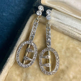 Platinum and Gold Diamond Buckle Earrings