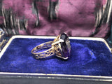 Reserved Rose cut diamond M initial amethyst ring in 14ct gold