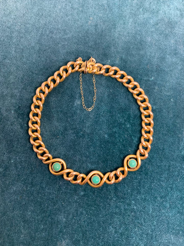 18ct Edwardian Curb Link Bracelet set with turquoise