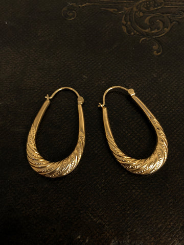 Vintage Large Gold Creole Earrings