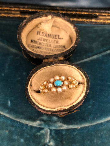 Early Victorian Turquoise and Pearl Ring