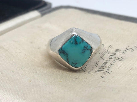 Silver Turquoise Signet Ring
