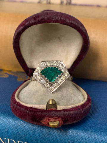 18ct Shield Emerald and Diamond Ring