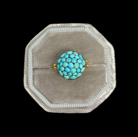 15ct Victorian Turquoise Button Ring